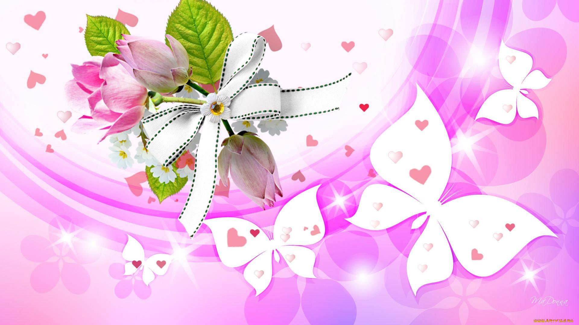 Именам днем, открытки с бантиками и цветами