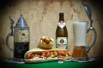 обоя бренды, бренды напитков , разное, хот, дог, пиво, напиток, кружка, бутылка