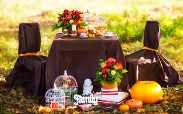 обоя интерьер, декор,  отделка,  сервировка, осень, пикник, листья, цветы, розы, свечи, травы, кофе