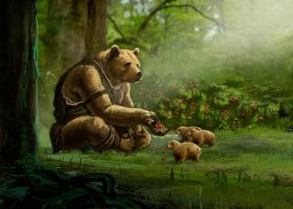 обоя рисованное, животные, медведь
