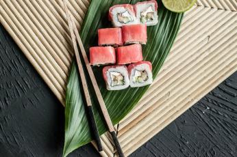 обоя еда, рыба,  морепродукты,  суши,  роллы, палочки, вкусно, рис, лосось, роллы