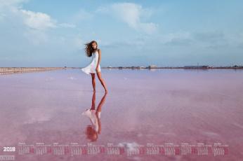 обоя календари, девушки, водоем, отражение