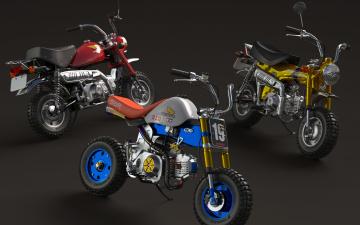 обоя мотоциклы, honda, три, стиль, минибайки
