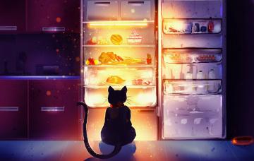 обоя рисованное, животные,  коты, холодильник, кот