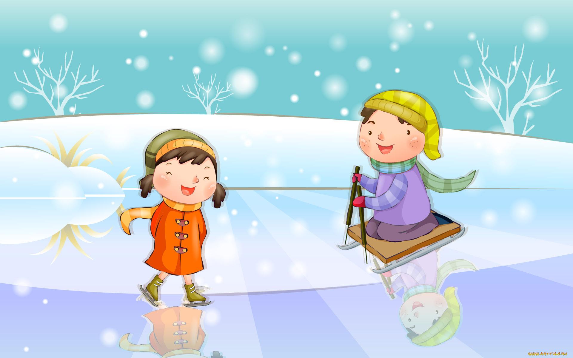 2014 прикольные, картинки с детьми зимой нарисованные