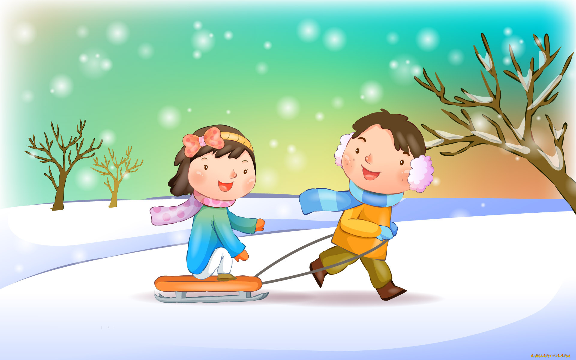 Дети зимой картинки нарисованные, днем рождения