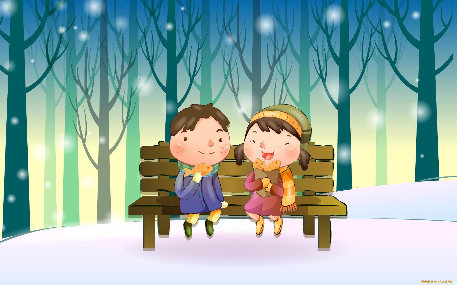 Картинки с детьми зимой нарисованные, для тети