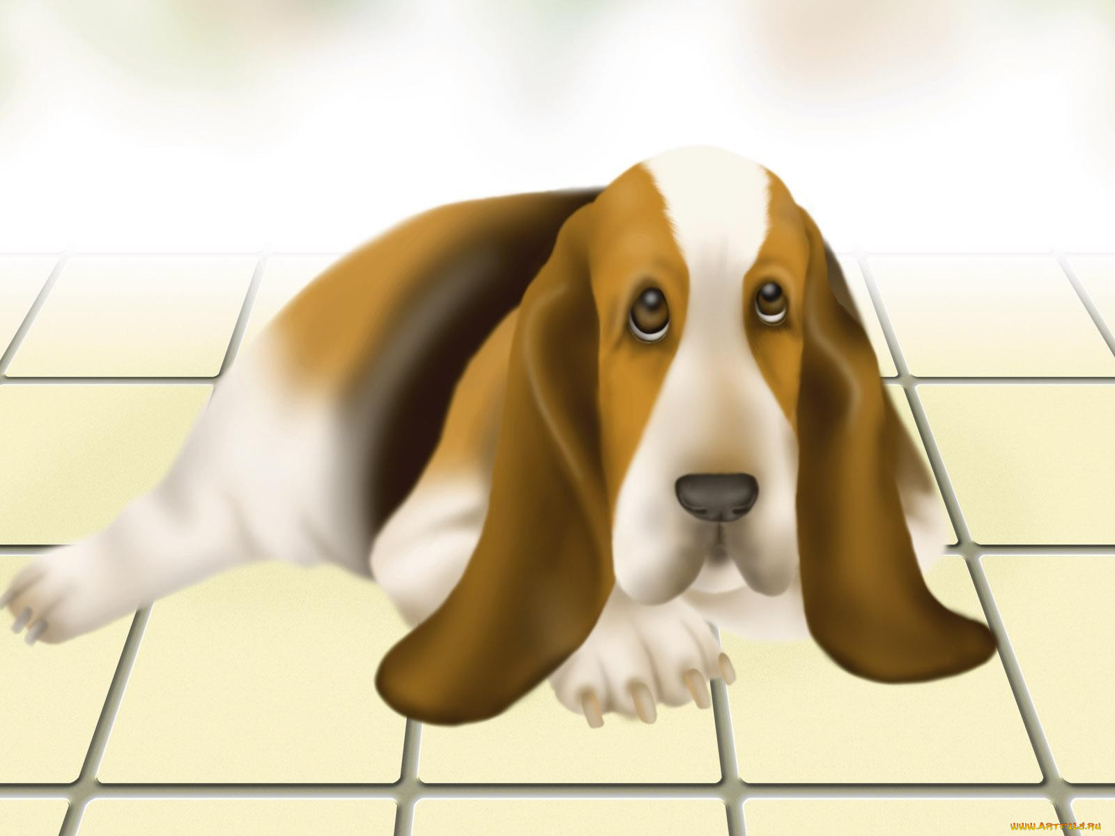 Смешной щенок рисунок, надписью
