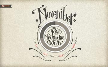 Картинка календари рисованные векторная графика ноябрь