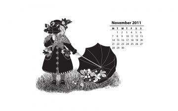 Картинка календари рисованные векторная графика девочка зонт листья