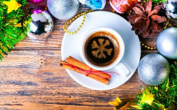 Картинка праздничные угощения merry christmas xmas decoration новый год рождество украшения кофе корица шары снежинка