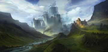 обоя фэнтези, замки, река, фантазия, пейзаж, горы, небо, облака, крепость, дракон, замок
