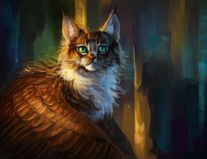 обоя рисованное, животные,  сказочные,  мифические, крылатая, кошка, фэнтези
