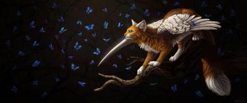 обоя рисованное, животные,  сказочные,  мифические, бабочки, фэнтези, by, cat-patrisiya, крылатая, кошка