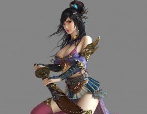 обоя 3д графика, фантазия , fantasy, девушка, оружие, фон, взгляд