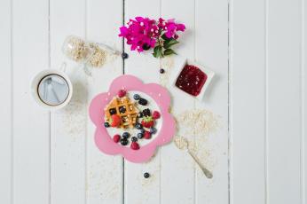 обоя еда, разное, ягоды, завтрак, джем, вафля, овсянка