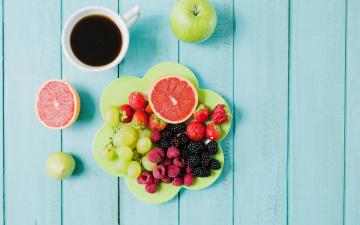 обоя еда, фрукты,  ягоды, ягоды, кофе, виноград, завтрак