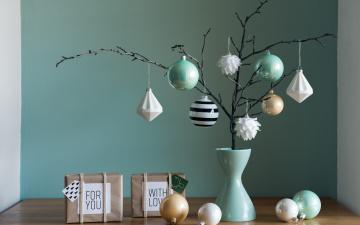 обоя праздничные, - разное , новый год, декоративная, подарки, праздник, игрушки, ваза, композиция, christmas, decoration, simple
