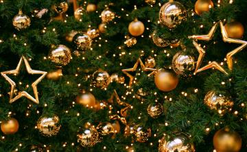Картинка праздничные украшения шарики звёзды ёлка