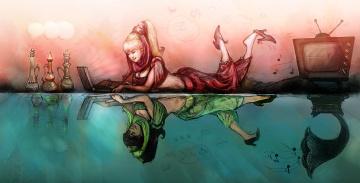 обоя рисованное, комиксы, фон, отражение, девушка