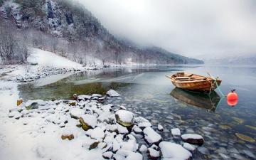 обоя корабли, лодки,  шлюпки, зима, река, снег