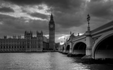 обоя westminster palace, города, лондон , великобритания, мост, дворец, вестминстер, часы, темза, биг, бен, башня, река