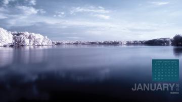 Картинка календари природа озеро зима пейзаж деревья