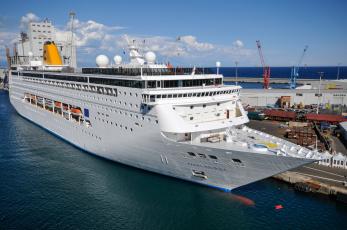 Картинка costa+neoriviera корабли лайнеры круизный лайнер причал