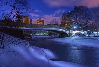обоя города, нью-йорк , сша, gapstow, bridge, центральный, парк, вечер, нью-йорк