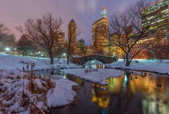 обоя города, нью-йорк , сша, gapstow, bridge, вечер, нью-йорк, центральный, парк