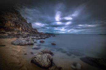 обоя природа, побережье, море, камни, облака