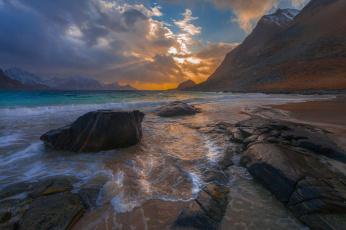 обоя природа, побережье, море, пейзаж, закат, камни, скалы