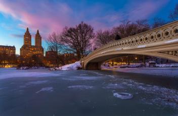 обоя города, нью-йорк , сша, центральный, парк, gapstow, bridge, вечер, нью-йорк