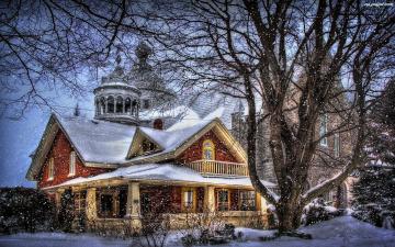 обоя усадьба зимняя, города, - здания,  дома, красота, снежинки, усадьба, снег, волшебство