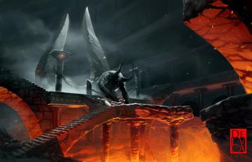 Картинка фэнтези демоны зал огонь адский цепи демон