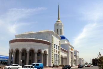 обоя города, - здания,  дома, красивое, здание, железнодорожного, вокзала, ашхабад