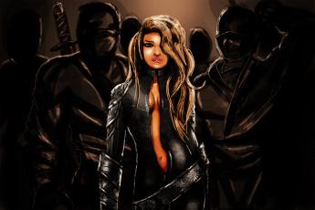 обоя рисованное, комиксы, униформа, взгляд, фон, мужчины, девушка