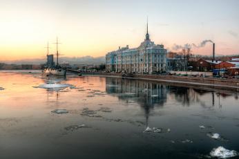 обоя города, санкт-петербург,  петергоф , россия, крейсер, утро, аврора