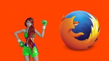 обоя компьютеры, mozilla firefox, взгляд, логотип, фон, девушка