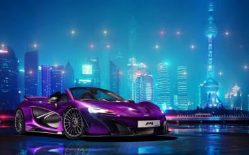 обоя автомобили, mclaren, p1, фиолетовый, макларен, город, огни