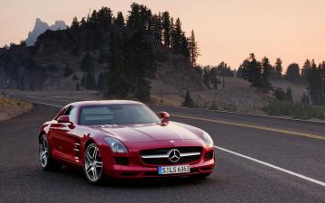 обоя автомобили, mercedes-benz, mercedes, amg, sls63, красный, дорога, шоссе, трасса, горы, деревья
