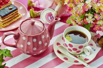 Картинка еда напитки +Чай торт чайник чай посуда цветы