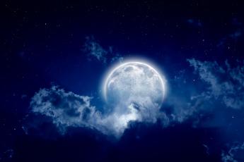 обоя космос, луна, свет, тучи, полнолуние, пейзаж, звёзды, ночь, облака