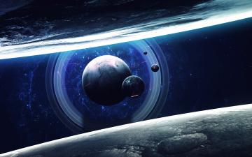 Картинка космос арт планеты вселенная звезды галактика