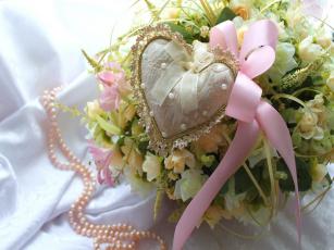 Картинка праздничные день св валентина сердечки любовь букет сердечко жемчуг бант