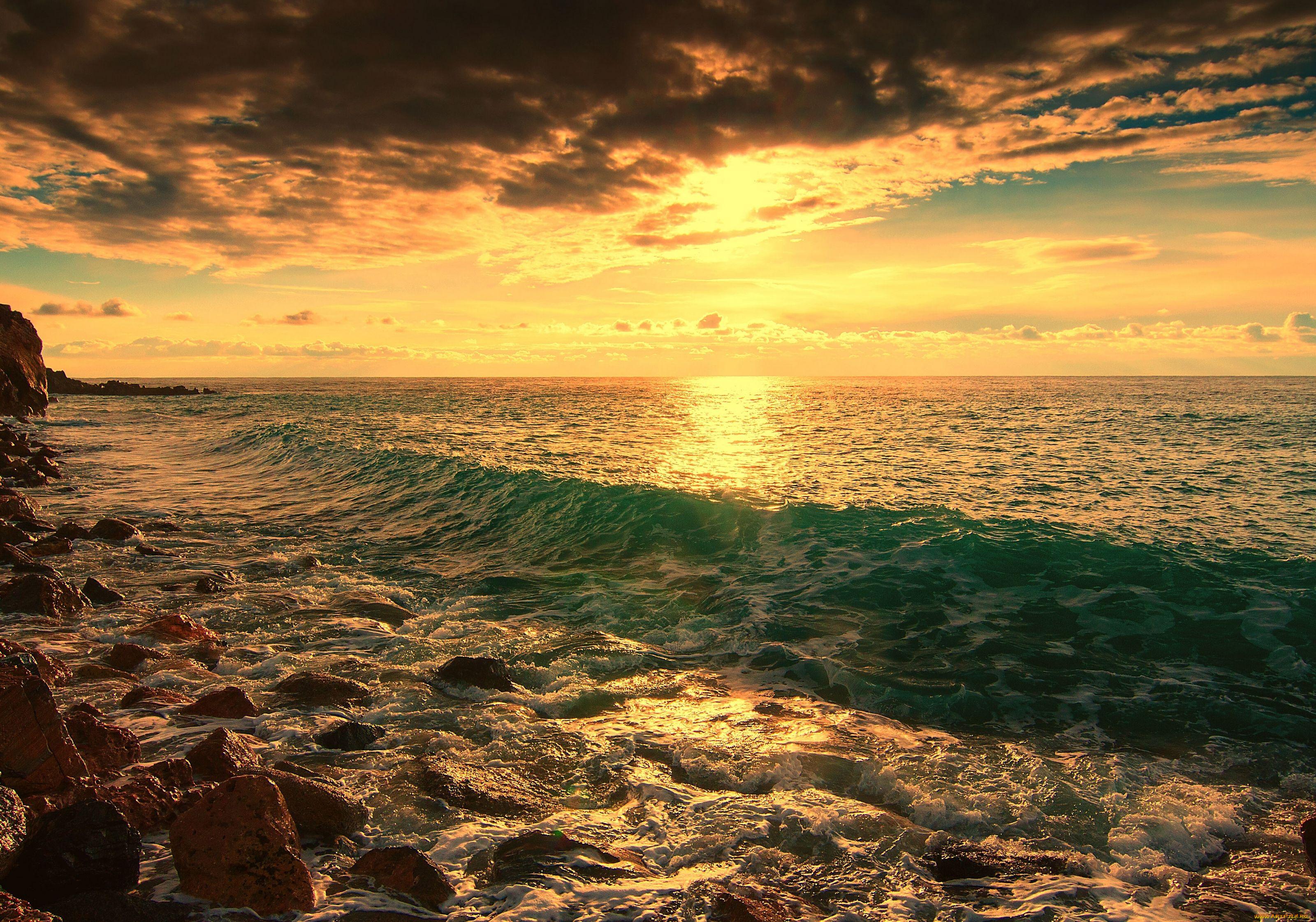 берег волна закат сумерки загрузить