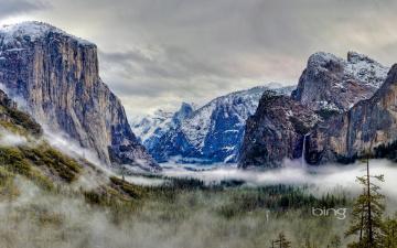 Картинка природа горы снег туман