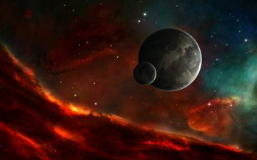 Картинка космос арт туманность цвет планета звезды небо