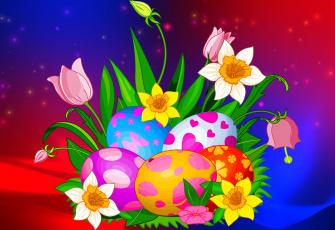 обоя праздничные, пасха, цветы, яйца