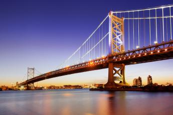 обоя города, - мосты, филадельфия, река, делавэр, опора, ночь, огни, мост, бенджамина, франклина